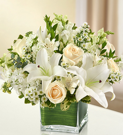 sympathy flowers in white