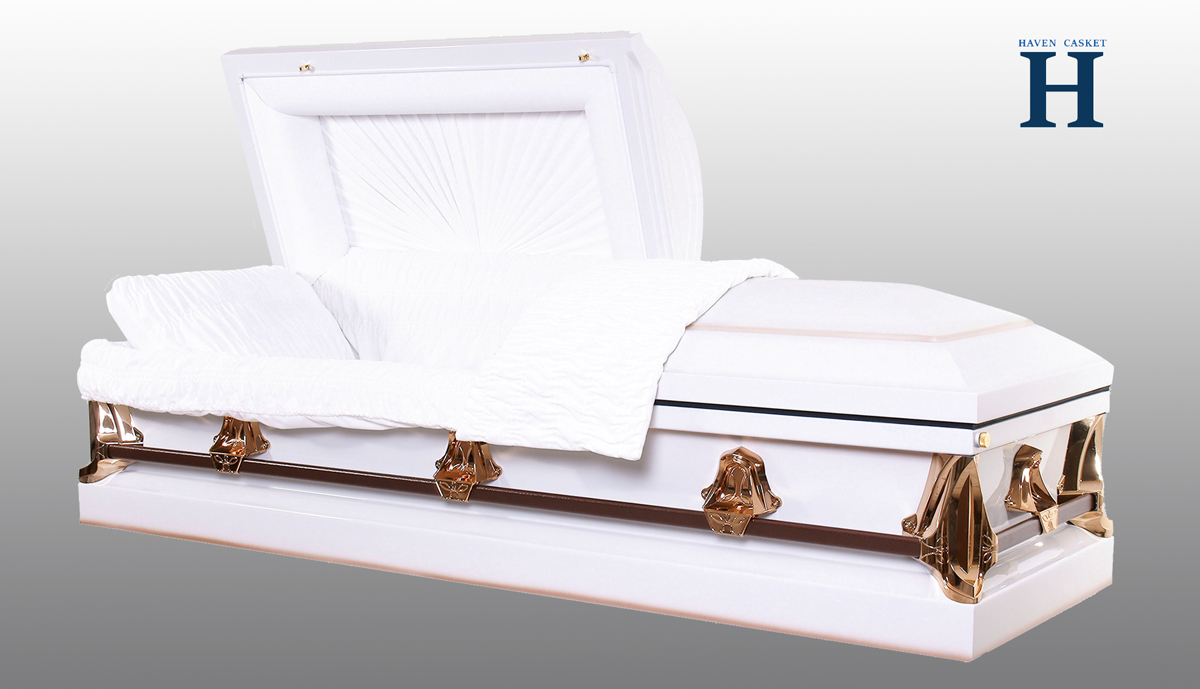 Monarch White metal casket MC107