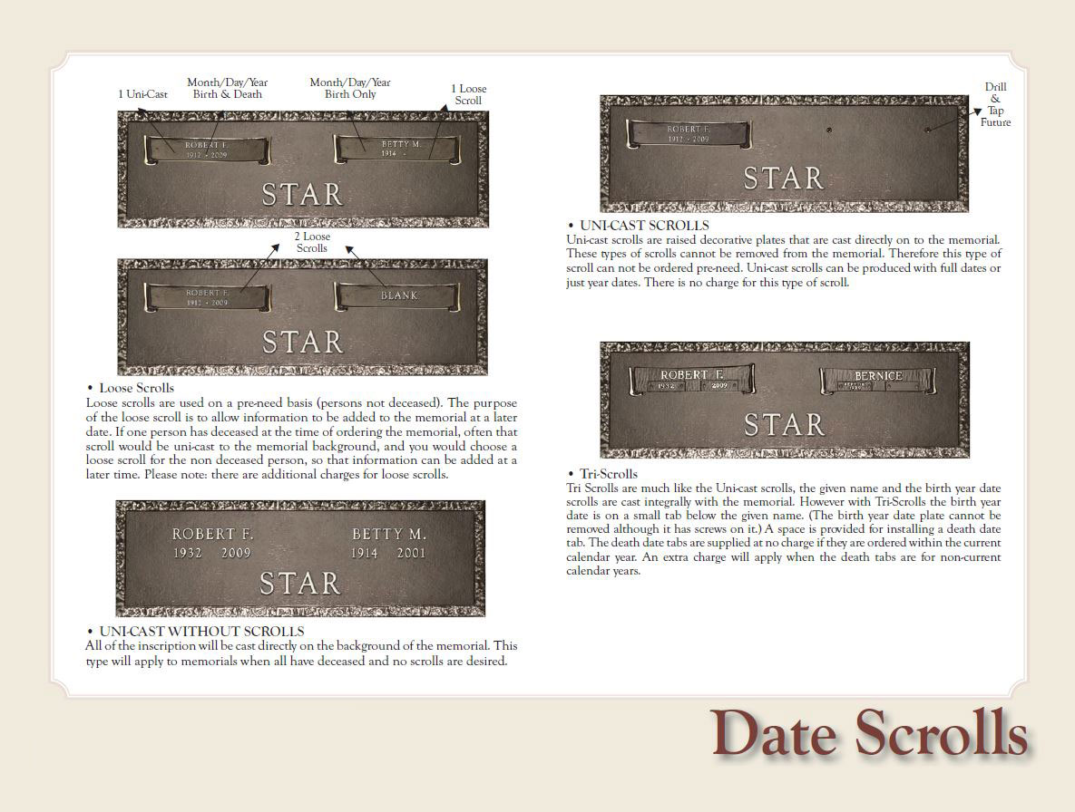 Date scrolls bronze marker