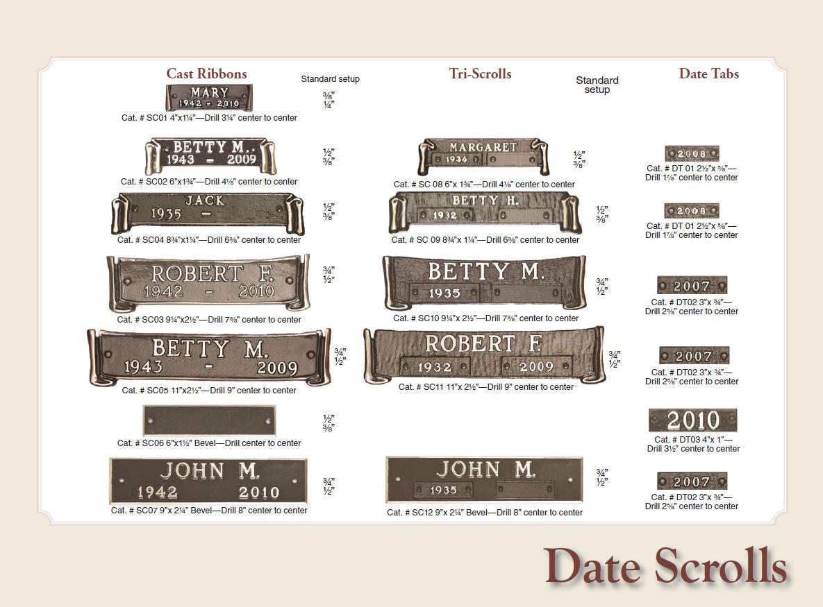 date tabs bronze marker