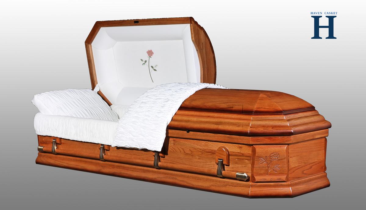 honey oak casket