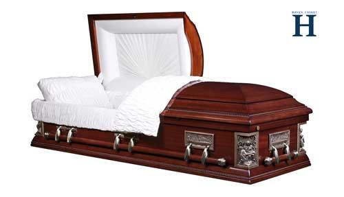 Pieta-mahoganyveneer casket