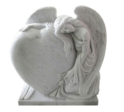 custom angel & heart marble headstone