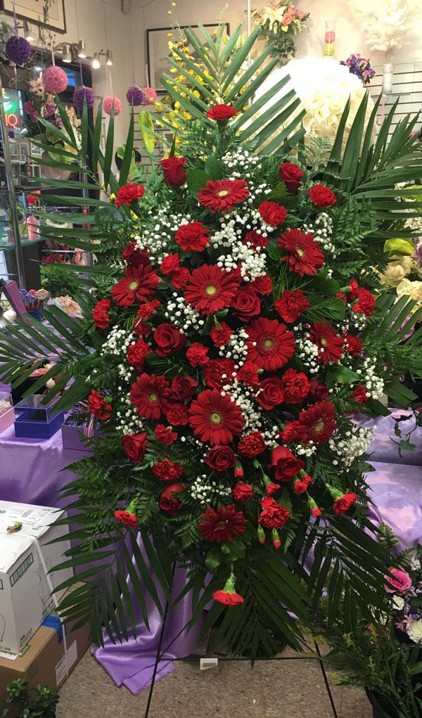 Red Standing Spray Sympathy Flower