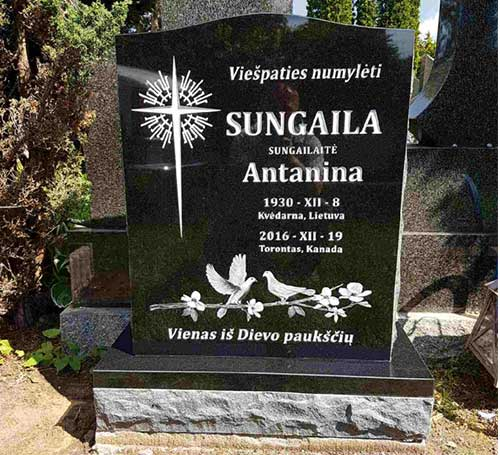 Black Granite Headstone with Etching