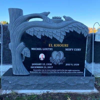 Custom Black Granite with Tree and Birds Carving