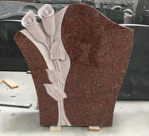 Indian Red Calla Lily Carved Headstone