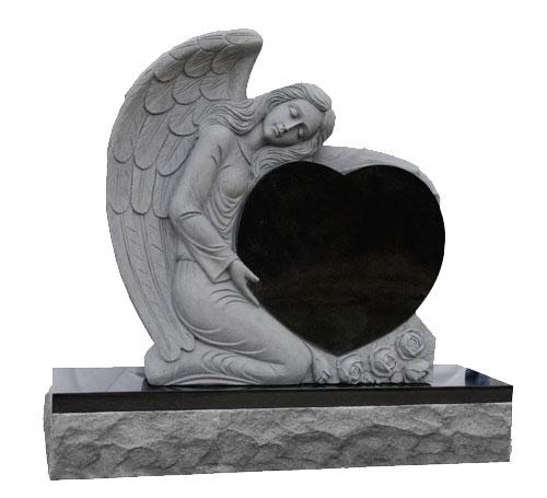 Angel Black Heart Headstone