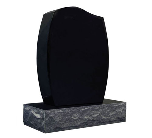Black Half Serp Headstone