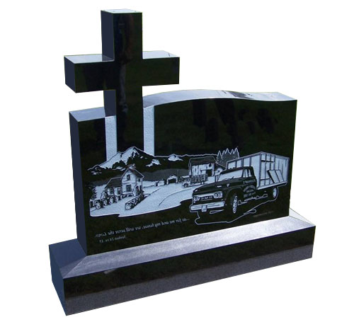 cross black headstone