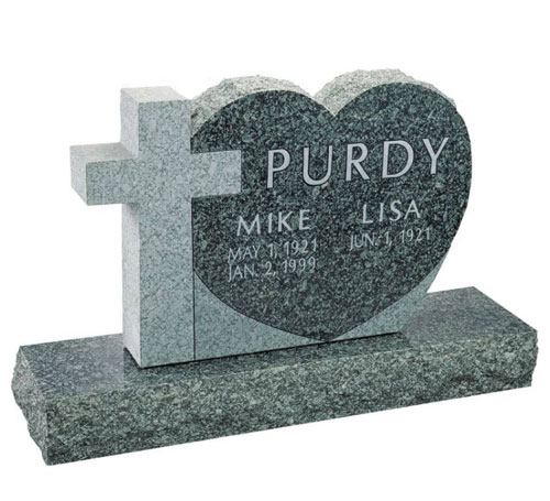 Cross & Heart Headstone