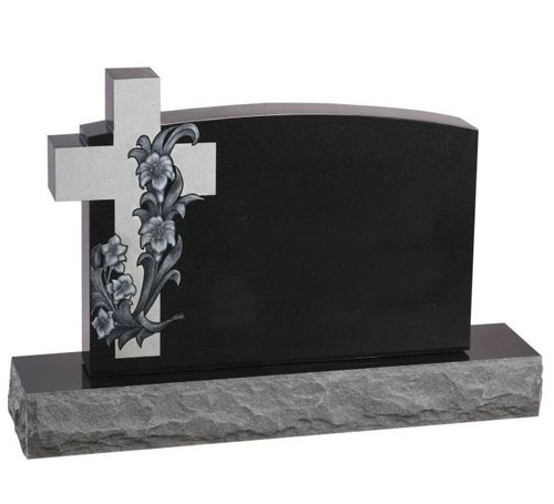 Black Cross Serp Headstone