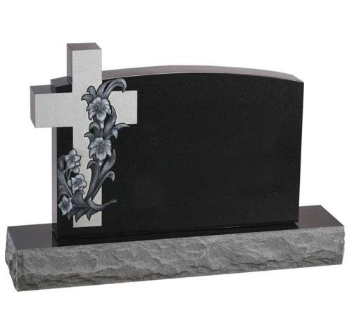 Black Cross Serp Headstone