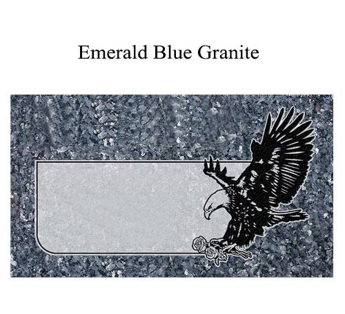 emerald blue granite flat marker