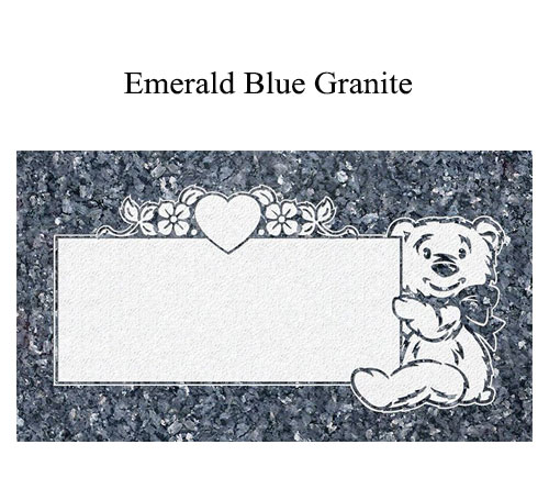 blue pearl granite flat marker teddy