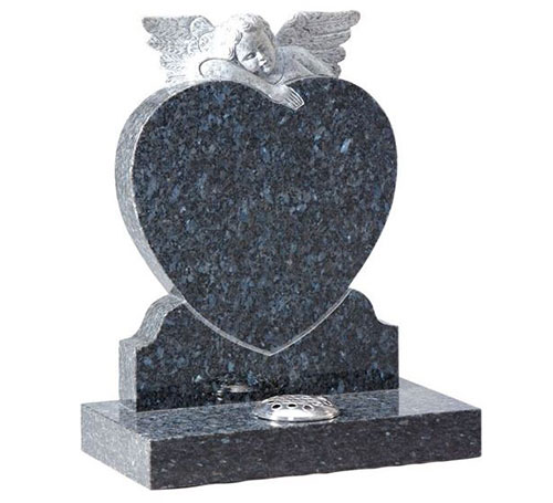 Blue Pearl Heart with Angel Headstone