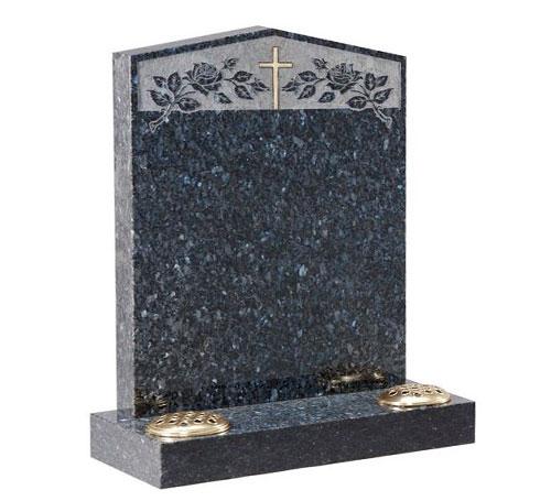 Blue Pearl Cross Headstone