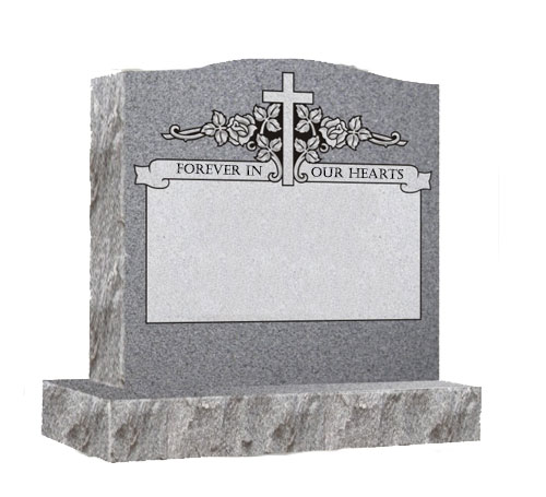 grey single serpentine headstone