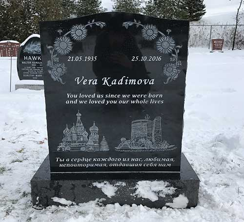 laser etch black headstone