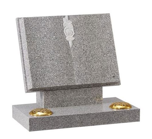 Open Book Grey granite headstone