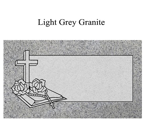 light grey granite flat marker open book of life