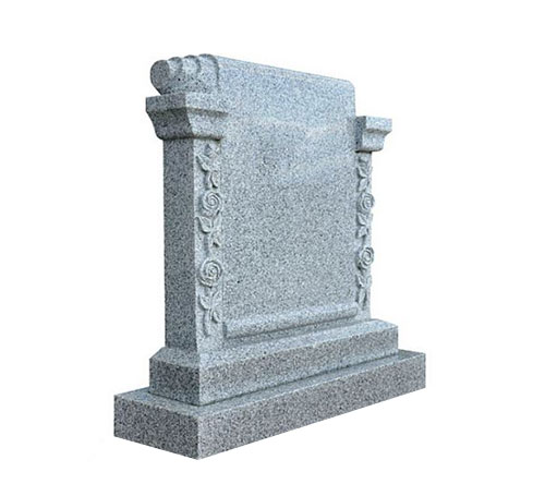 grey scroll headstone