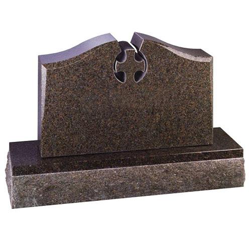 mahogany cross serpentine headstone