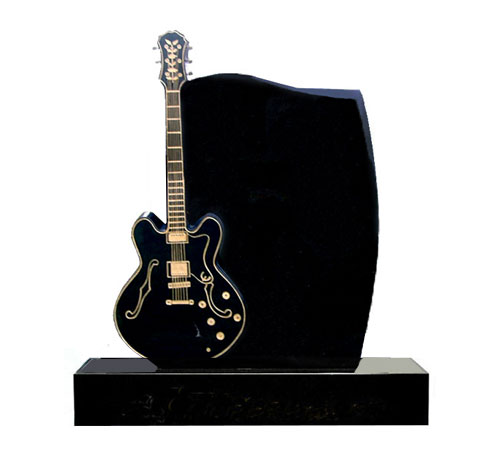 Guitar Music Headstone in Black Granite
