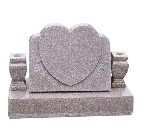 Heart Headstone in Pink Granite