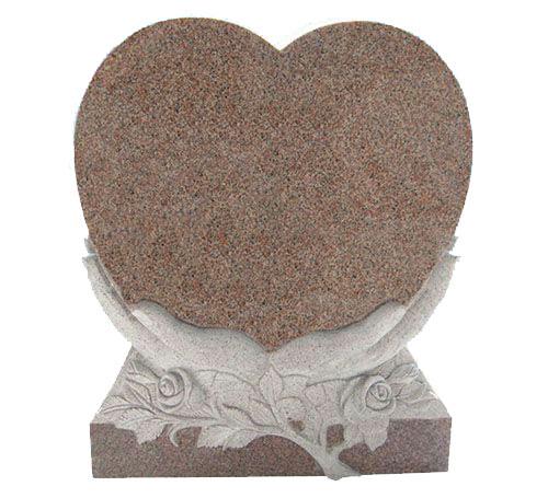 praying heart pink headstone