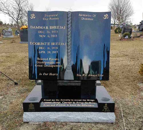 Black Granite Open Book Memorial