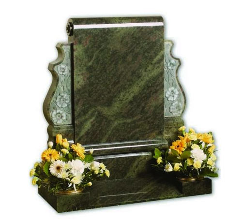 Tropical Green Scroll Headstone