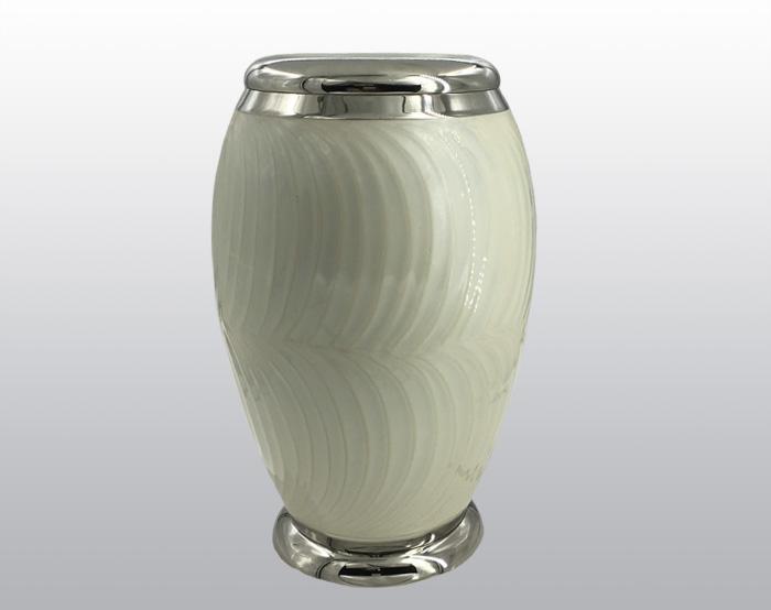 Pearl White Metal Urn