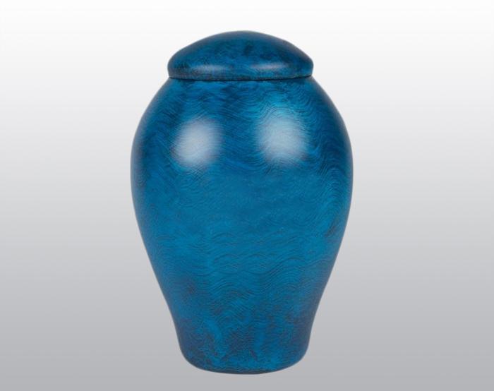 Ocean Blue Metal Urn