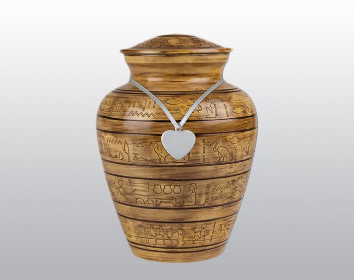 Egyptian Hieroglyphic Metal Urn