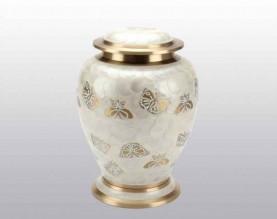Butterflies White Pearl Metal Urn