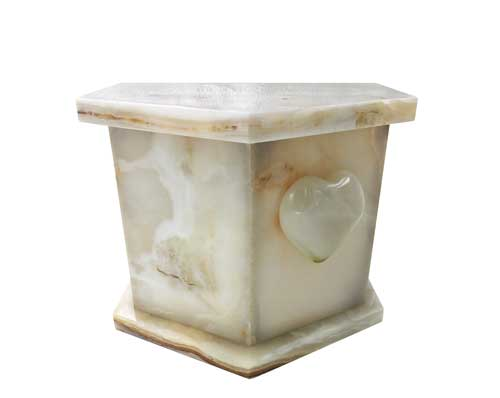 white heart marble urn