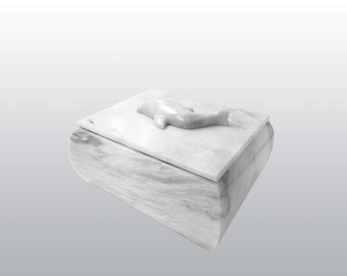 Dolphin White Marble Urn MAU023