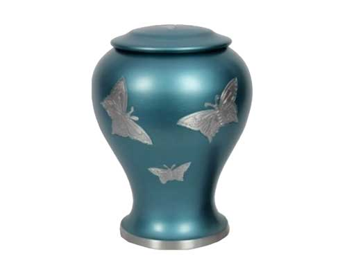 butterfly metal urn