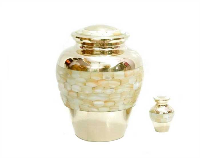 Mother of Pearl Metal Urn MU181