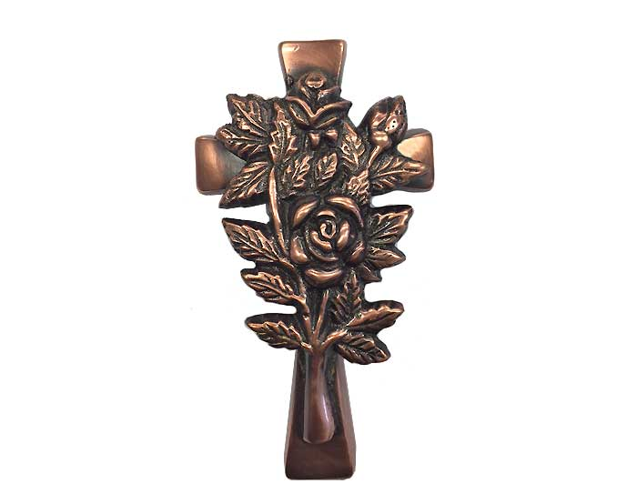Bronze Cross with Roses Ornament UO107