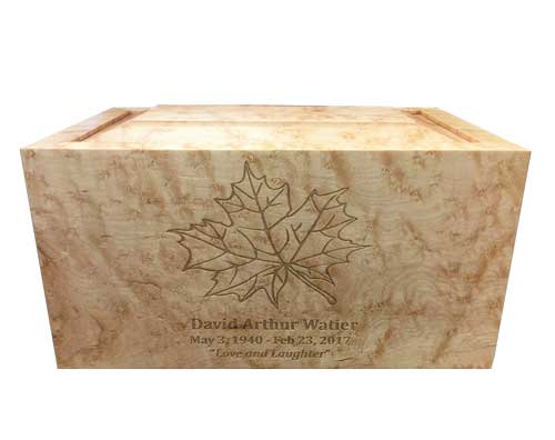 Maple Leaf birdseye maple wood urn