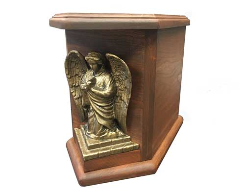 angel wood urn