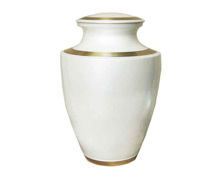White Carnation Metal Urn MU223