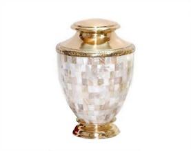 White Pearl Metal Urn MU250B