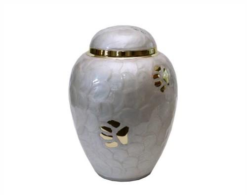 Pearl White Paw Metal Urn PU100