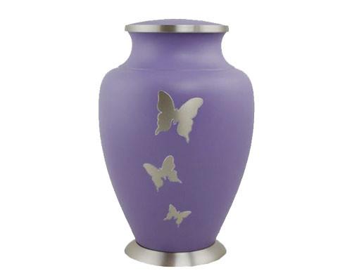 Silver Butterfly Metal Urn MU309