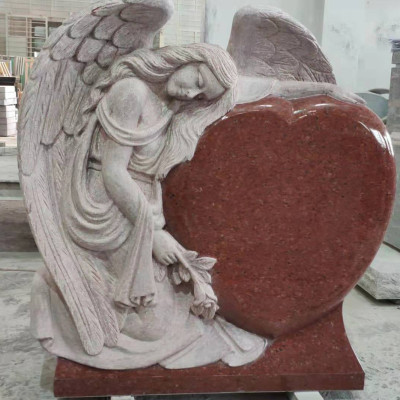 India Red Angel Heart Headstone